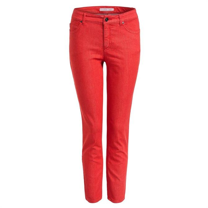 Oui Baxtor Slim Fit Lipstick Red Stretch Jeggings